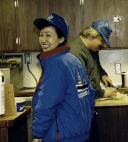 Fishermen's Finest CEO Helena Park, aboard the American No. 1, in the late 1980s, checks in on the cook of her crew.